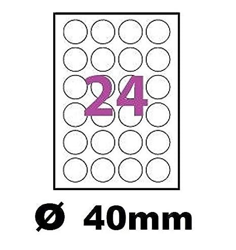Hojas de 24 etiquetas de plástico de vinilo blanco redondas, 40 mm ...