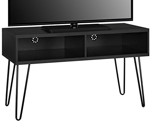 Metal Stand Tv Modern (Ameriwood Home 1748296COM Owen Collection Retro TV Stand, Black Oak)