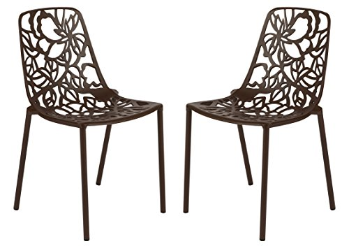 LeisureMod Devon Modern Aluminum Indoor-Outdoor Stackable Side Dining Chair in Brown, Set of 2