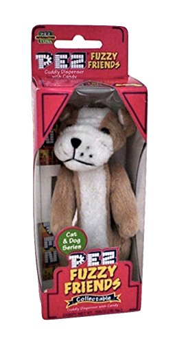 Pez Fuzzy Friends by Dakin Plush Dog & Cat Candy Dispenser with clip Brutis Bulldog Dog