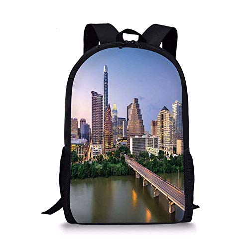 School Bags Modern,Austin Texas American City Bridge over the Lake Skyscrapers USA Downtown Picture,Multicolor for Boys&Girls Mens Sport Daypack