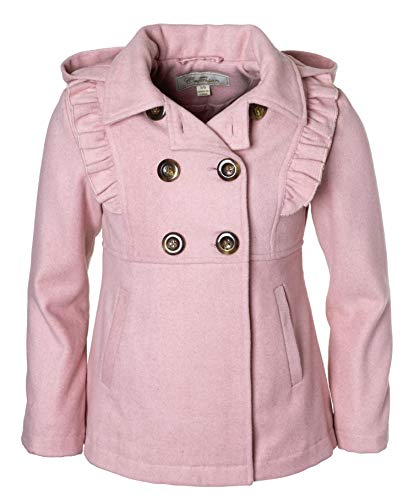 Cremson Girls' Wool Blend Hooded Ruffle Winter Dress Pea Coat Jacket - Blush (Size 10/12) ()