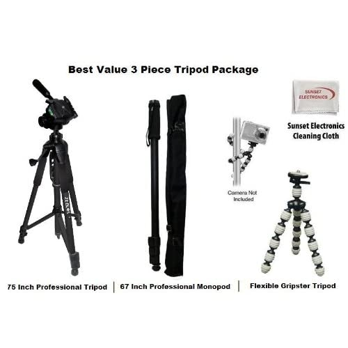 "3 Piece Tripod Bundle For Fuji FinePix S Series. Includes 75"" Tripod, Carrying Case, 67"" Monopod, Flexible Double Joint Gripster Tripod"