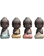 Noiacdo 4PCS Cute Small Ceramic Buddha Statues Monk Figurines Sculptures for Outdoor Home Decoration