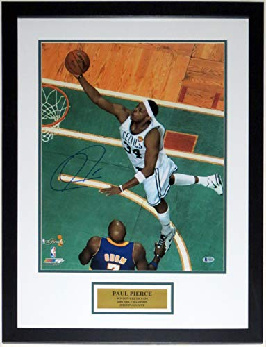 Paul Pierce Signed Boston Celtics 2008 NBA Championship 16x20 Photo - Beckett Authentication Services BAS COA - Professionally Framed & Plate