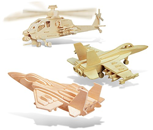 Plane Hornet Fighter (Puzzled F-15 Fighter Plane, Apache and F-18 Hornet Wooden 3D Puzzle Construction Kit)