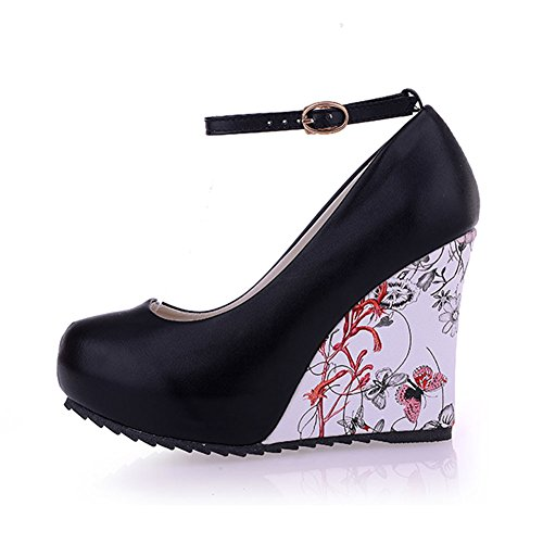 fereshte Womens Platform Ankle Buckle Strap Round-Toe Flower Print Wedge High Heel Pump Shoes Black YzwLa9