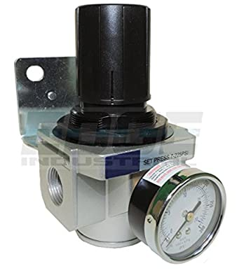 "Heavy Duty High Flow 3/4"" In-line Compressed Air Pressure Regulator, 7 To 215 Psi Adjustable, Bracket, Gauge"