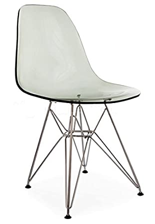 Eiffel Wire Base Dining Chair   Acrylic Transparent