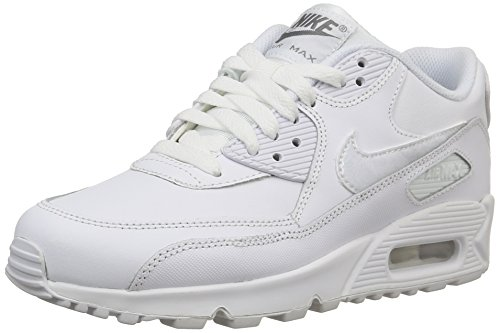 Nike Air Max 90 Leather (GS) Boys' Running Shoes 724821-100 White White-Cool Grey 5.5 M US by NIKE