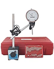 Accusize Industrial Tools 3 Pc Set, 110 Lb Capacity Magnetic Base, 0-1 inch x 0.001 inch Dial Indicator and 22 Ps Indicator Point Kit, Eg01-1039