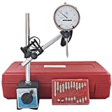 Accusize Industrial Tools 3 Pc Set, 110 Lb Capacity Magnetic Base, 0-1 inch x 0.001 inch Dial Indicator and 22 Ps…