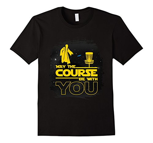 Mens Disc Golf T-Shirt - Funny 'May The Course Be With You' Tee Large Black