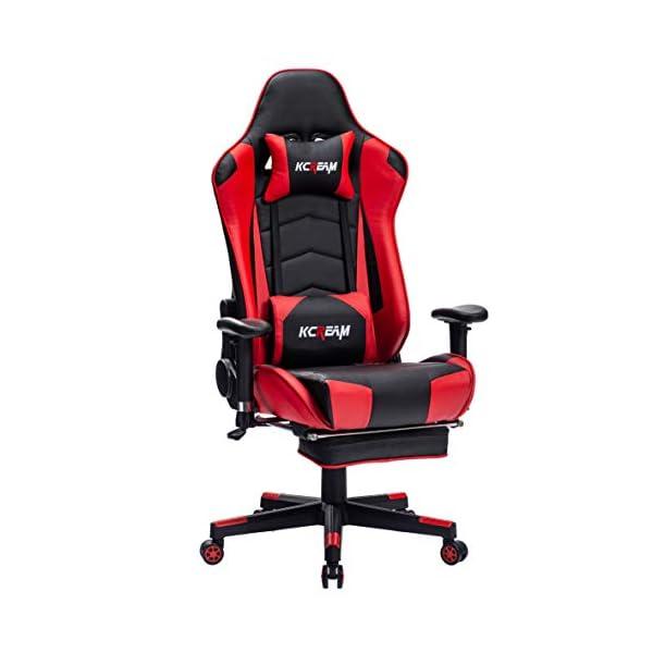 KCREAM® Chaise Gaming Ergonomique, Chaise Racing de Bureau, Fauteuil Gamer avec Repose Pied, Soutient Lombaire et…