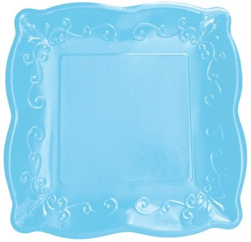 8-Count Elise Scalloped Embossed 10'' Square Premium Paper Banquet Plates, Azure
