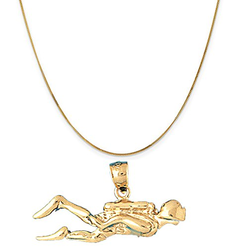 14k Yellow Gold Scuba Diver Pendant on a 14K Yellow Gold Curb Chain Necklace, 16'' by Eaton Creek Collection