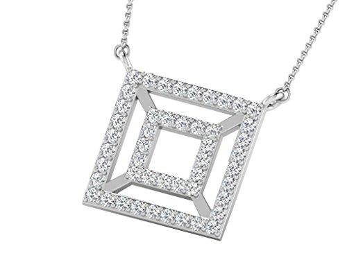 Libertini Colliar argent 925 serti de Diamant en forme de Carrés