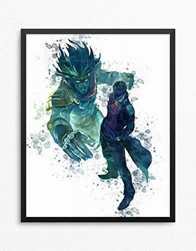 ジョジョの奇妙な冒険印刷、Jotaro Kujoポスター、jojo no kimyou na boukenアニメポスター、アニメ印刷水彩n.002 16 x 20インチ