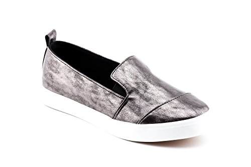 Kiki On Women's Pewter Slip Canvas Calico Met Casual Sneakers gTUqwqA7
