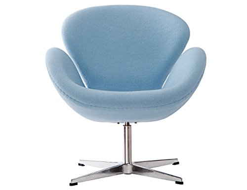 MCM HOME DECO Arne Jacobsen Style Swan Chair Made of Premium Cashmere,360 Degree Swivel , Blue