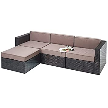 RATTAN CORNER SOFA SET GARDEN FURNITURE OUTDOOR PATIO CONSERVATORY ...