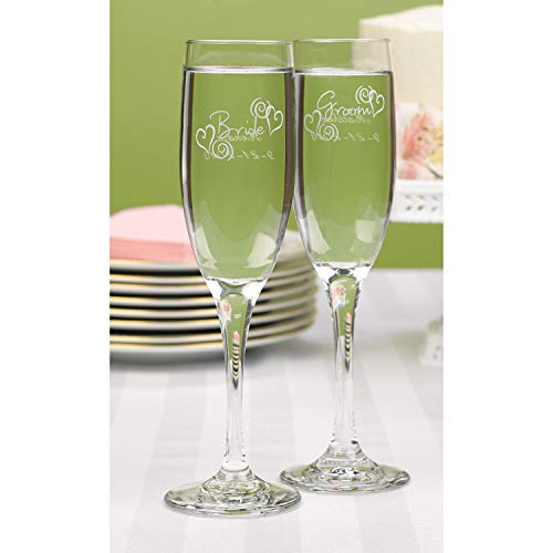22pk Swirl Heart Bride and Groom Flutes-Toasting Flutes ()