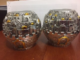Candleholder Jerusalem Ball with gold accents/Tea light holder-Set of 2