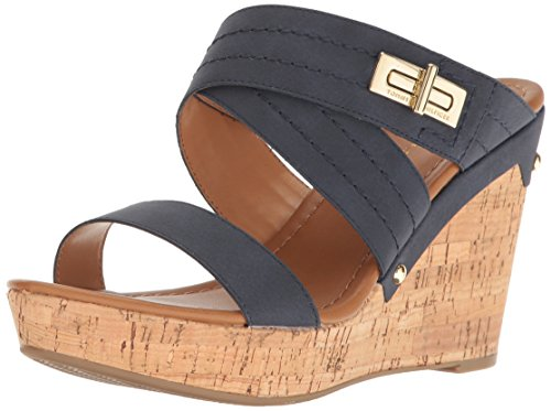 Tommy Hilfiger Women's Mili, Navy, 7.5 M US (Womens Sandals Wedge)