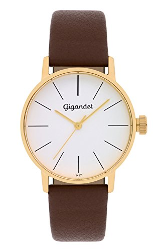 Gigandet Women's Quartz Watch Minimalism Analog Leather Strap Gold Brown G43-003