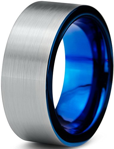 8 Mm Pipe (Tungsten Wedding Band Ring 8mm for Men Women Comfort Fit Blue Pipe Cut Brushed Size 7.5)