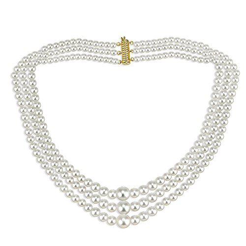 14k Yellow Gold Graduated 4-10mm White Freshwater Cultured High Luster Pearl 3-rows Necklace, 16