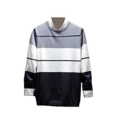 Abetteric Men Long Sleeve Contrast Color Striped Pullover Knitted Sweater supplier