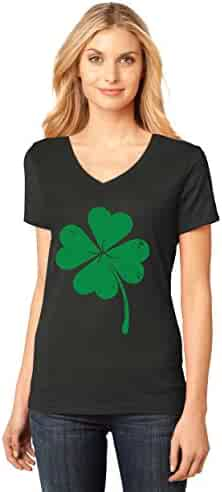 Tstars Four-Leaf Clover - Saint Patrick's Day Irish Shamrock Women's Fitted V-Neck T-Shirt Large Black