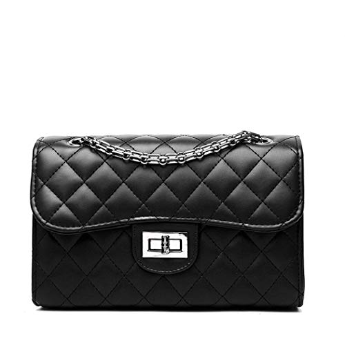 - EROUGE Women Designer Quilted Crossbody Bags Classic Shoulder Bags Satchel Handbags with Chain (Black)