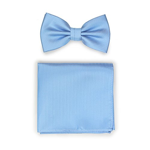 Bows-N-Ties Men's Solid Pre-Tied Bow Tie and Pocket Square Set Matte Herringbone Finish (Sky Blue)