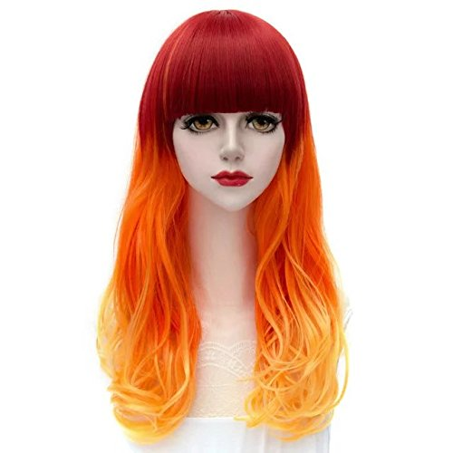 Lolita Ombre Multicolor 55-80cm Long Wavy Curly Anime Cosplay Fashion Harajuku Hair Wigs+Cap ()