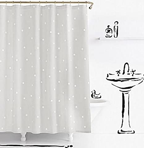Kate Spade Deco Dot Fabric Shower Curtain 72quotx72quot Grey White