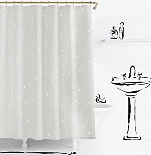 Kate Spade Deco Dot Fabric Shower Curtain, 72''x72'', Grey/White
