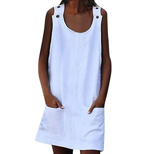 (Euone Dress Clearance, Crew Neck Women Dresses Shift Daily Casual Button Plain Cotton Dresses)