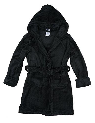Leveret Kids Fleece Sleep Robe Black Size 14 Years