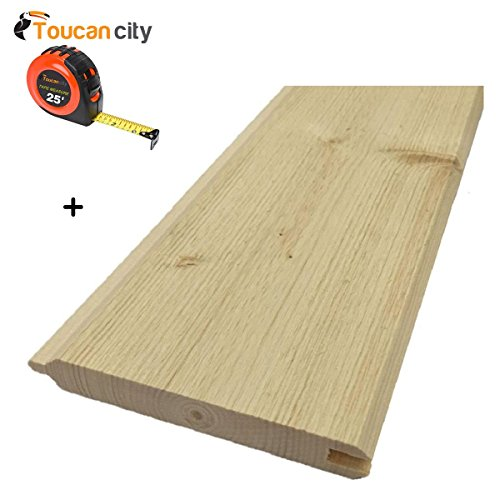 Toucan City Tape Measure and 1 in. x 6 in. x 8 ft. Gorman Pine Tongue and Groove Siding (6-Pack) 168PTG6PK