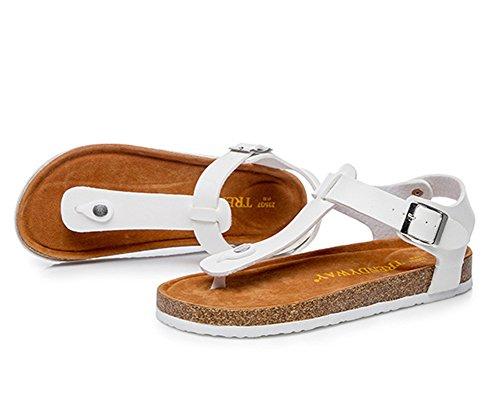 Flops Sandales Homme avec Confort Cheville de Femme Unisexe Liège et pour Adulte Tongs de Blanc Plage Flip Sangle Chaussures O5Hwq4