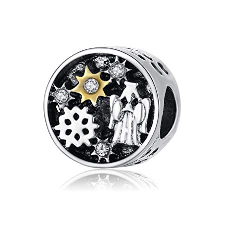 (Starry Night Sky Charm Glass&Clear Bead Fit Original Pandora Charms Silver Bracelet For Women Jewelry Making Gifts A729 )
