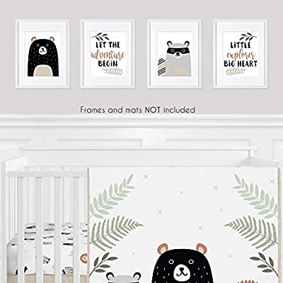 Sweet Jojo Designs Beige, Green, Black and Grey Bear Racoon Forest Animal Wall Art Prints Room Decor for Baby, Nursery, and Kids for Woodland Pals Collection - Set of 4 - Adventure Explorer: Baby