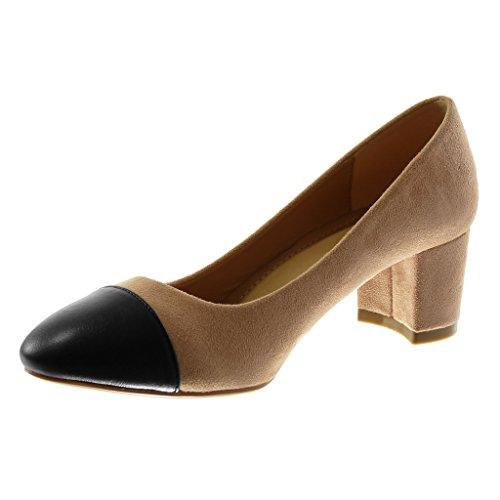 Angkorly Damen Schuhe Pumpe - Dekollete - Bi-Material - Bicolor Blockabsatz 5.5 cm Rosa