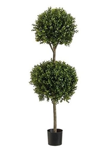 4' 8'' Boxwood 2 Ball Topiary Artificial Tree W Pot In Outdoor Plant Patio Fake by Black Decor Home
