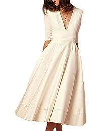 Women's Elegant Half Sleeve Deep V Neck Vintage Cocktail A-Line Midi Dress
