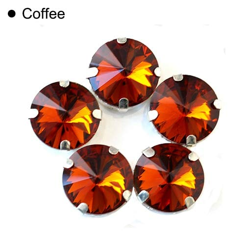 Pukido Clear Crystal Round Rivoli Sew On Claw Rhinestones Glass Sew On Buttons Sewing Crystal Strass for Wedding Decorations Y1770 - (Color: Coffee, Size: 14mm 20pcs) ()