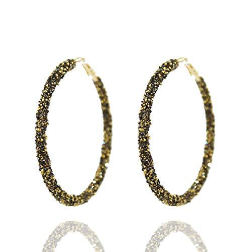 Pomina Glitter Sparkle Hoop Earrings for Women (Bronze) ()