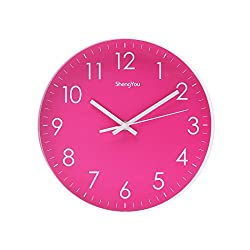 SonYo Indoor Non-Ticking Silent Quartz Modern Simple Wall Clock Digital Quiet Sweep Movement Office Decor 10 Inch(Rose)